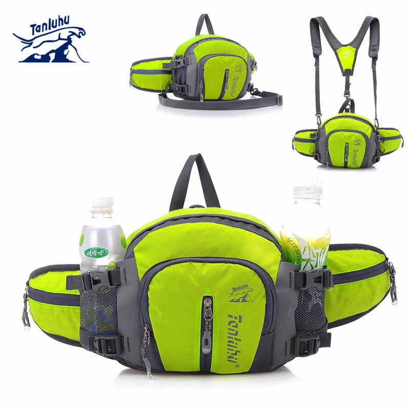 Tanluhu Men Women Running Waist Bag Outdoor Sports Pack for Fitness Jogging Running Cycling Belt Bags with Water Bottles Holder