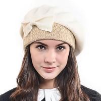 Hisshe النساء الشتاء 100% الصوف الدافئة متماسكة الفرنسية القبعات قبعة البيريه الكلاسيكية الإناث سيدة القوس قاء زجاجي قبعة أنيقة قبعة كاب