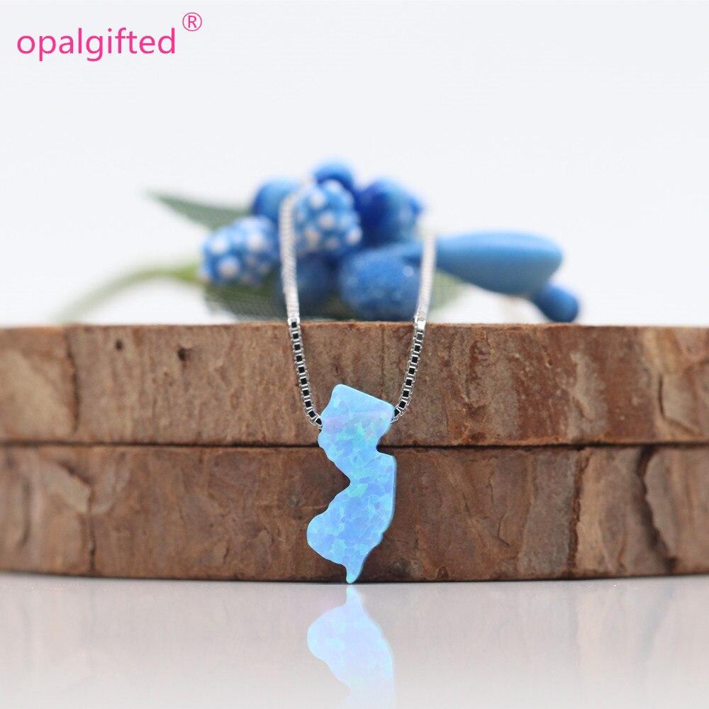 1pc/lot OP06 Light Blue 5.6X13mm NJ Opal Necklace 925 Sterling Silver New Jersey NJ Fire Opal Pendant NJ Map Opal Necklace