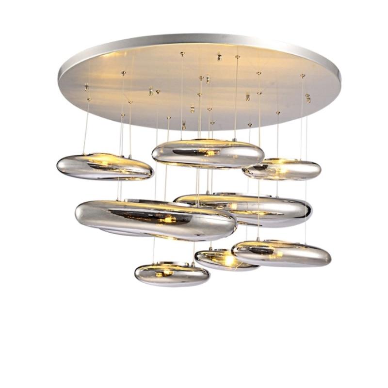 Lâmpada Do Teto LEVOU Moderno Nórdico Europeu Criatividade Moderna Sala de estar Restaurante Bola Chapeamento de Vidro de Mercúrio Fluido Simples Brilho