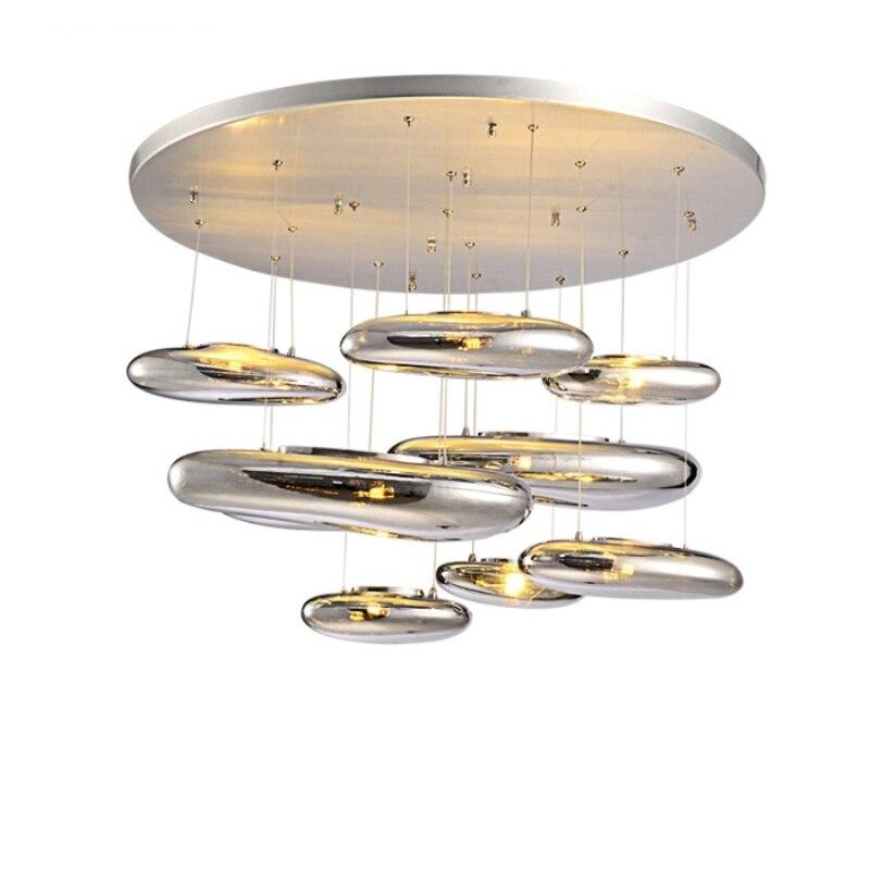 LED plafonnier moderne européen nordique créativité moderne salon Restaurant fluide mercure placage boule verre Simple lustre