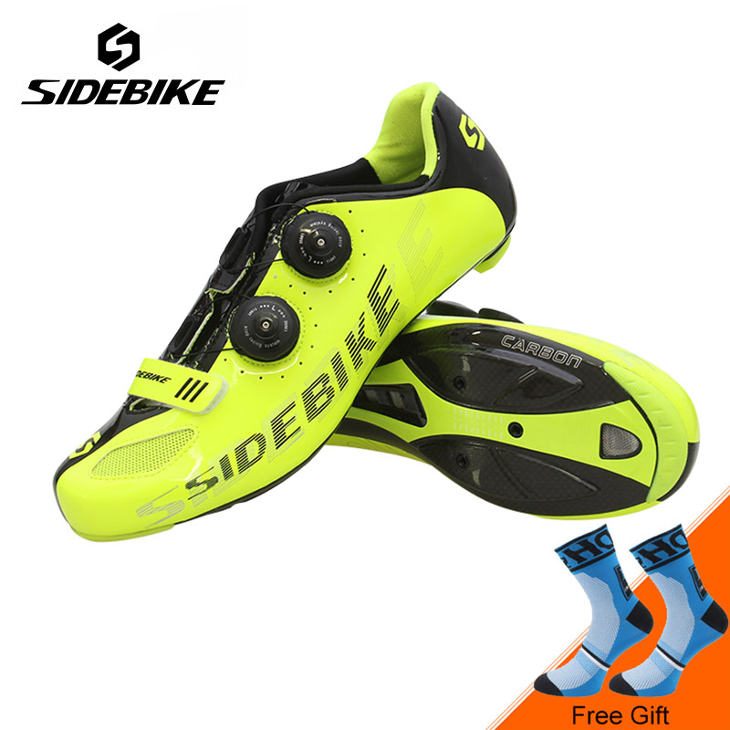 Sidebike New Carbon Fiber Road Bike Shoes Ultralight Cycling Shoes Men Self-locking Athletic Bicycle Shoes Zapatos de ciclismo sidebike mtb bike shoes carbon fiber cycling shoes men breathable non slip self locking road bike shoes bicycle sneaker shoes