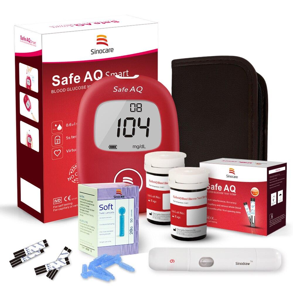 Sinocare Safe AQ glucomètre de glycémie et 100 bandelettes de Test Lancets moniteur de glycémie médical pour le diabète