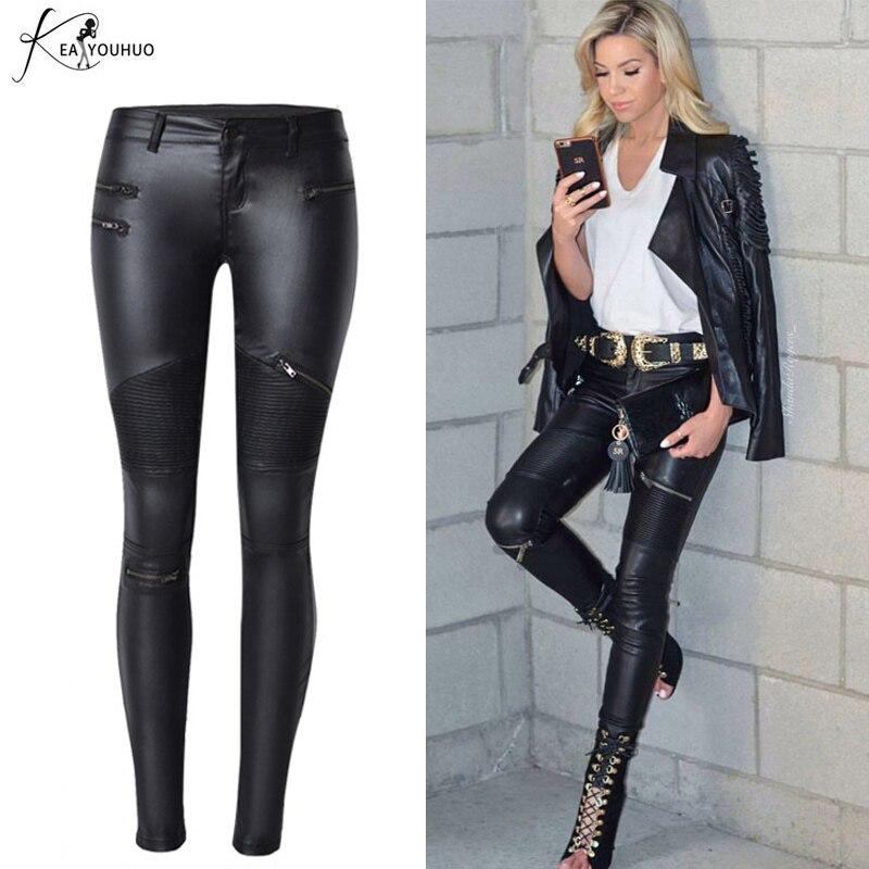 2019 Summer Stretch PU Leather Pants For Women High Waist Plus Size Pants Black Pants Pencil Trousers Women Pants Pantalon Femme