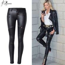 Fake Women's Leather Pants Zippers Capris Long Pants Women Trousers Skinny Pencil Pants Female Bottom Ladies Black Trousers 2017