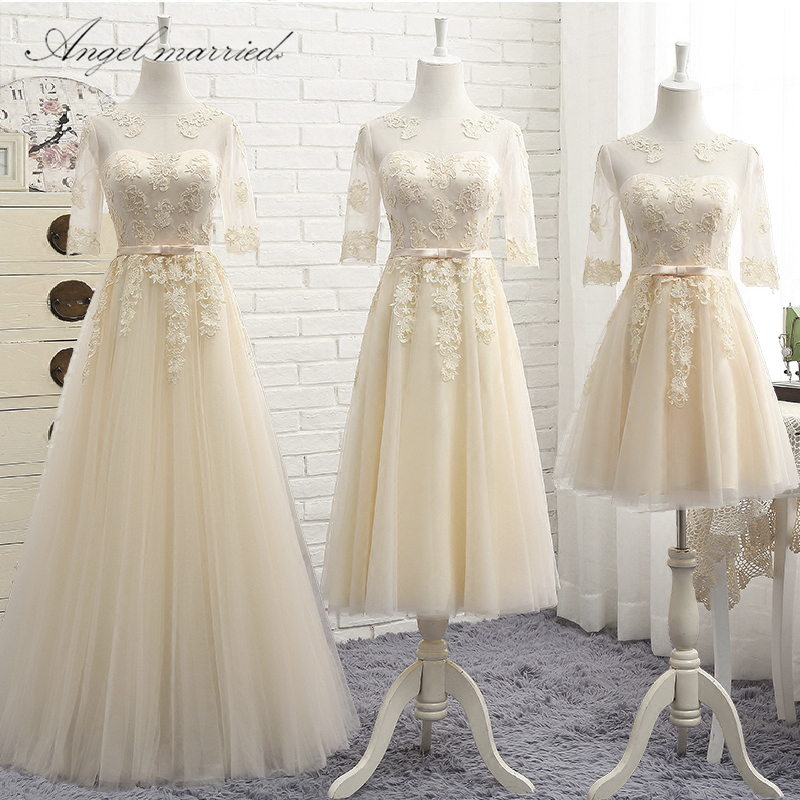 e68ec778a Angel married elegant bridesmaid dresses half sleeve wedding party dress  junior wedding guest dress vestido de festa 2018