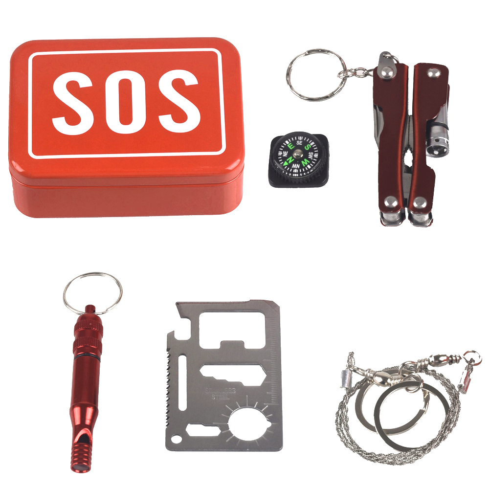 1 Set Outdoor Emergency Camping equipment box survival kit box self help box SOS  for Camping Hiking saw whistle compass tools|Safety & Survival| |  - title=