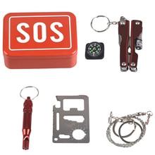 86729f67b5edae 1 Set Im Freien Notfall Camping ausrüstung box überleben kit box  selbst-helfen box SOS für Camping Wandern sah pfeife kompass we.