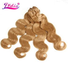 """Lydia Nature Wave Hair Extension Yaki Body 16""""-26"""" Pure Color 27# 3Pieces/lot Synthetic Hair Weaving For Women Hair Bundles"""