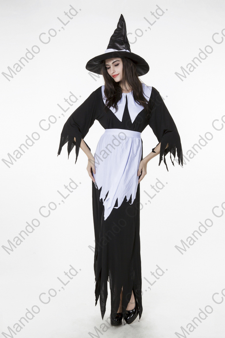 Adult Women White Black Witch Lady Fancy Dress Halloween Cosplay Costume Outfit
