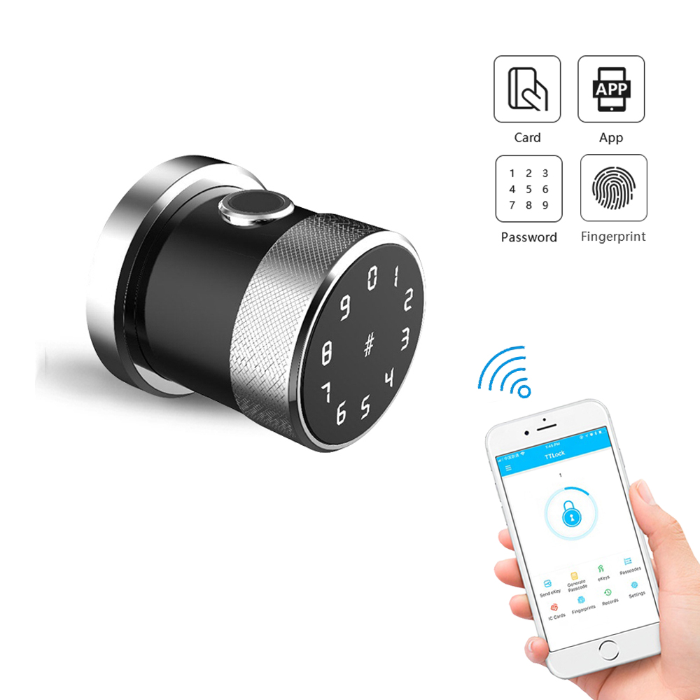 YOHEEN Bluetooth Round Knob Smart Lock Electronic Fingerprint RFID Digital Code App Wifi Door Lock For Home Appartment Office