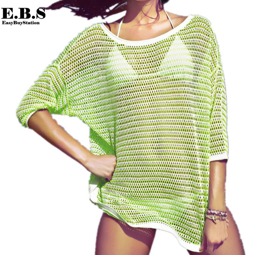 Summer Fashion Crochet Knit Thin Beach Wear Sweater Tops ,Sexy Women O neck Bat Sleeve Hollow out Casual Pullovers