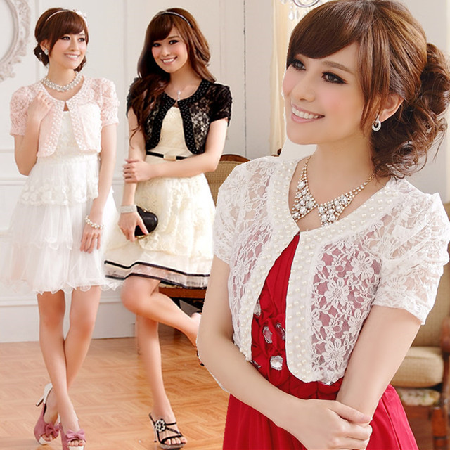 f6d8733bcb452b F~3XL Plus Size 2018 Stylish Wedding Women Lace Pearl Short Sleeve Female  Top Cardigan