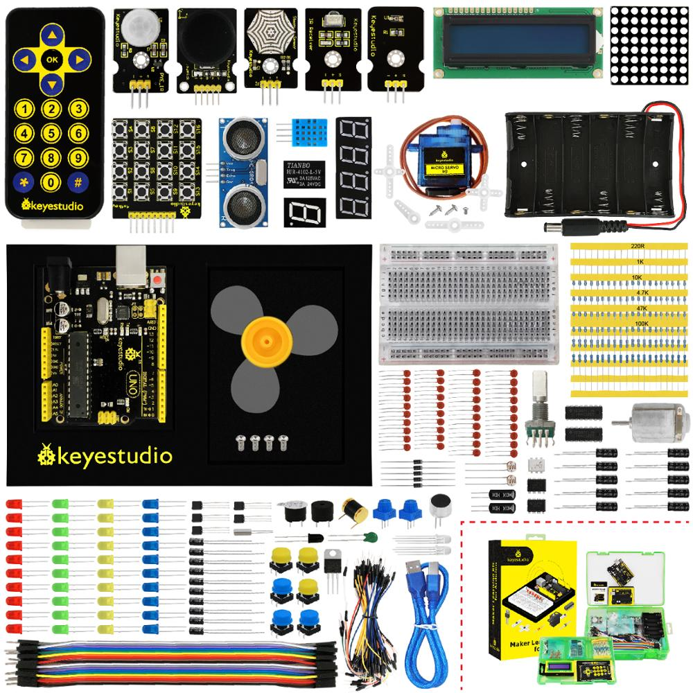 Keyestudio Maker Learning kit /Starter kit (UNOR3) For Arduino Project W/Gift Box+User Manual +1602LCD+Chassis+PDF(oline)