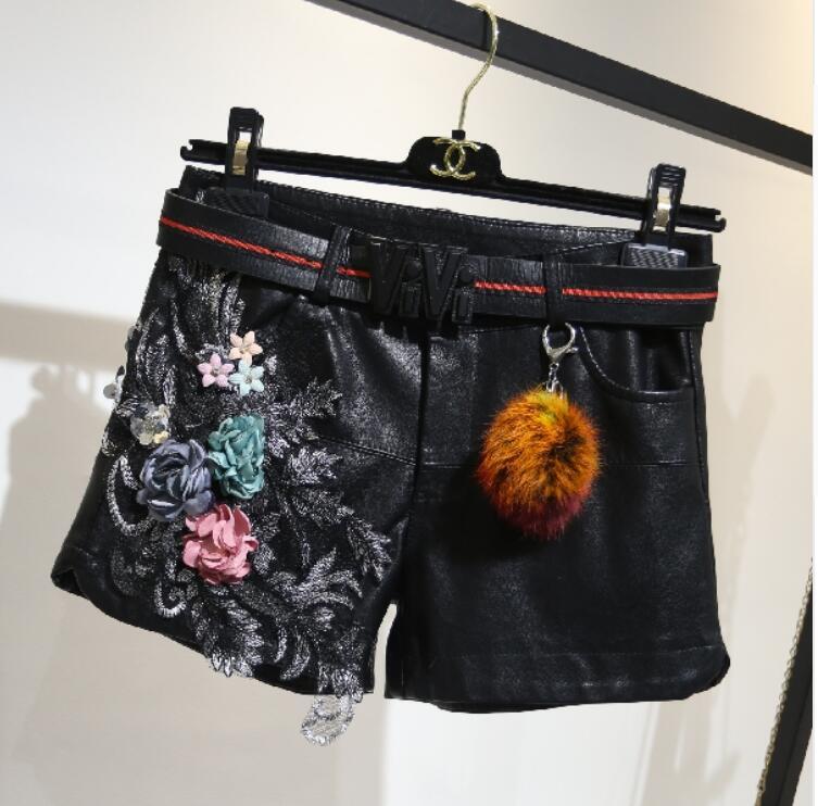 Pantalones Con Mujer Cortos 2018 Cuentas Cuero Bordadas Imitación De Nuevos b Para c A rgnrAq