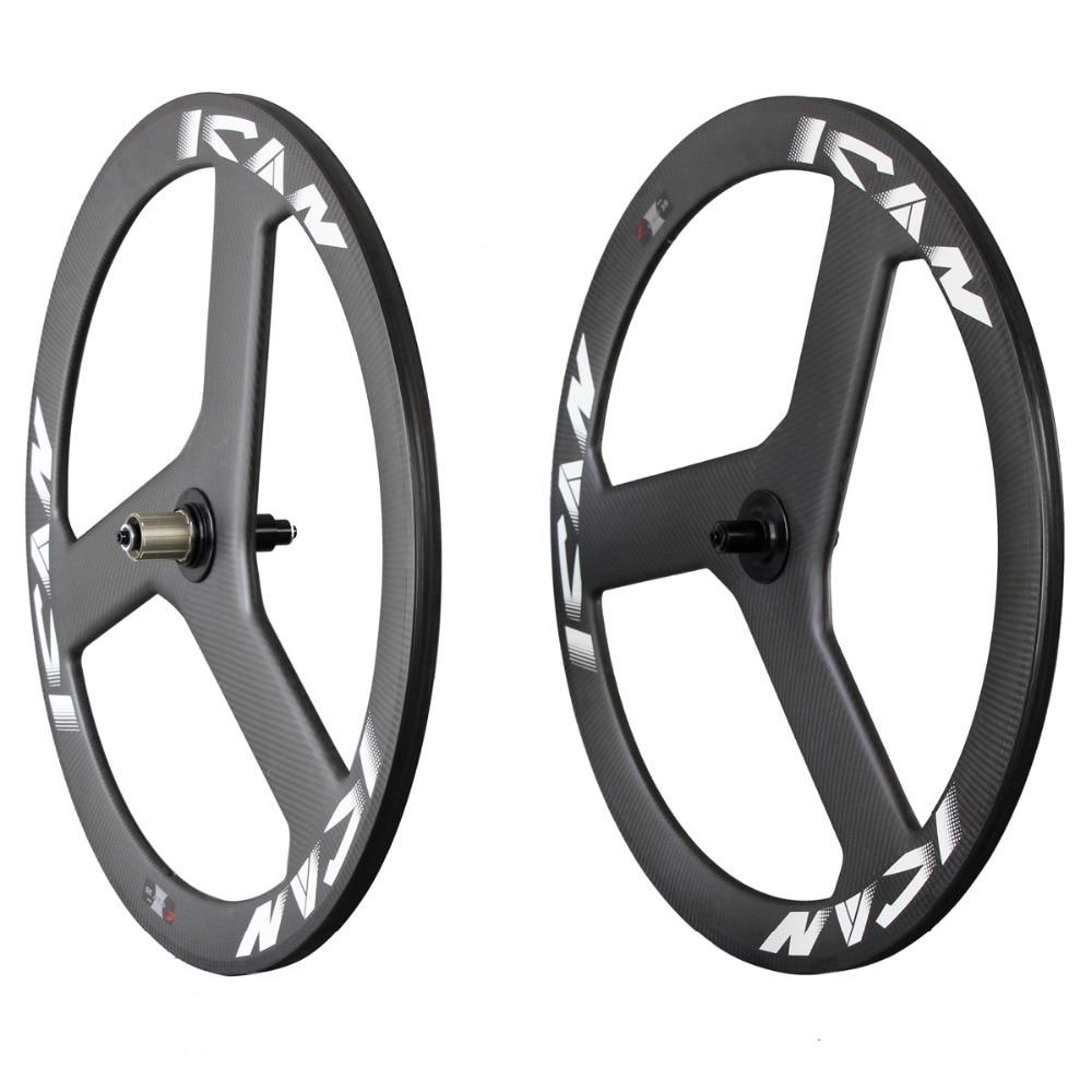 2016 carbon trispokes wheel 3 spokes carbon wheelset for road bike powerway black hub carbon wheelset neweset China S3