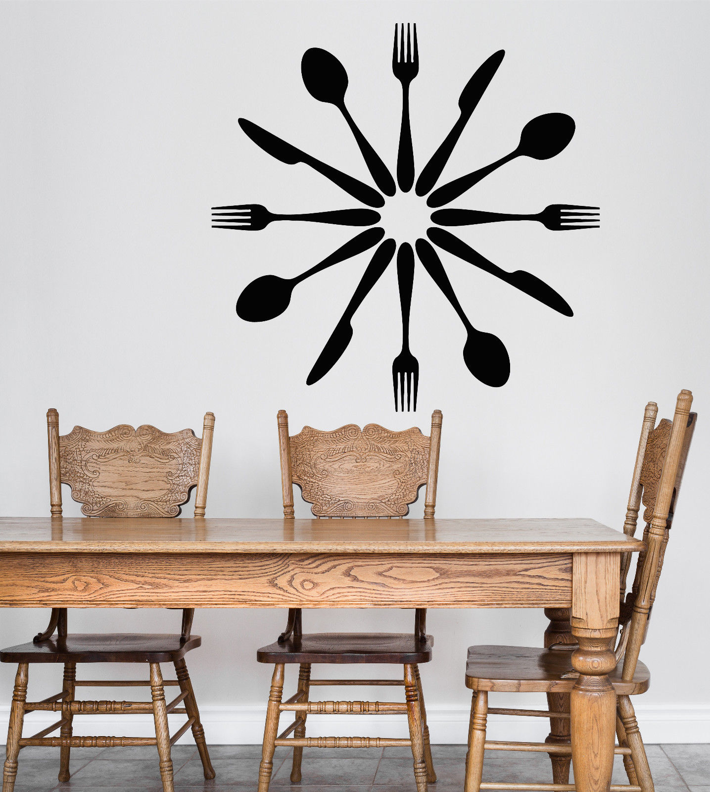 Vinyl Wall Decal Cutlery Spoons Forks Kitchen Decor Dining Room Stickers Wall Art Tattoos