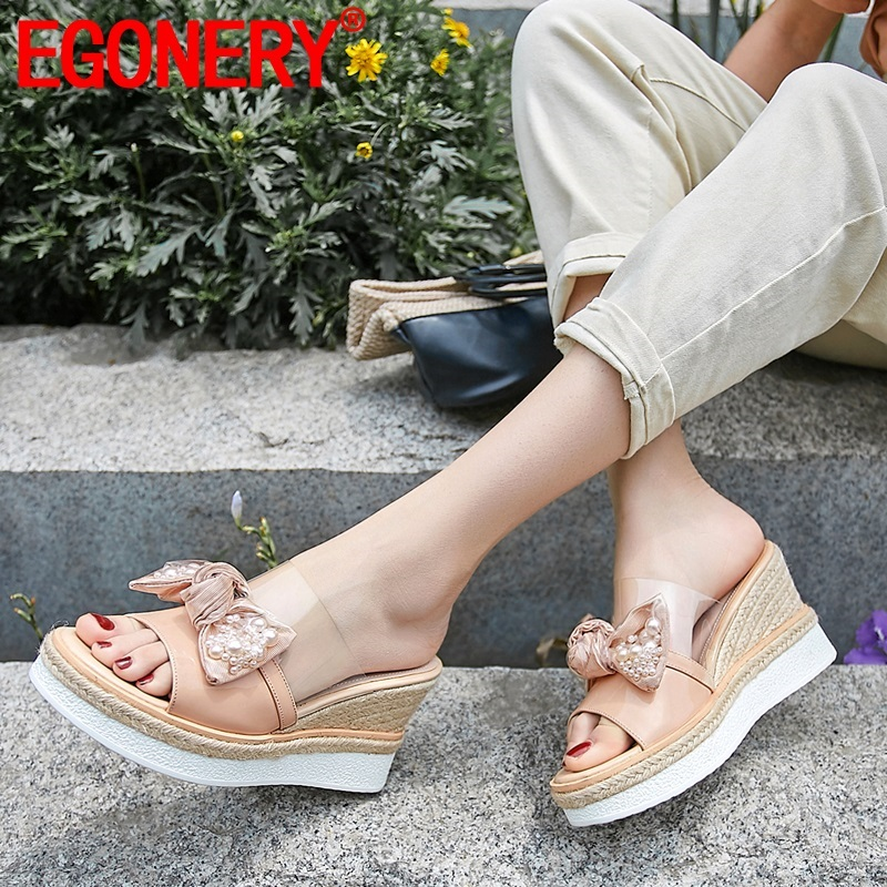 EGONERY woman shoes summer new fashion sweet bowtie pearl genuine leather woman slippers outside super high heels platform shoesEGONERY woman shoes summer new fashion sweet bowtie pearl genuine leather woman slippers outside super high heels platform shoes