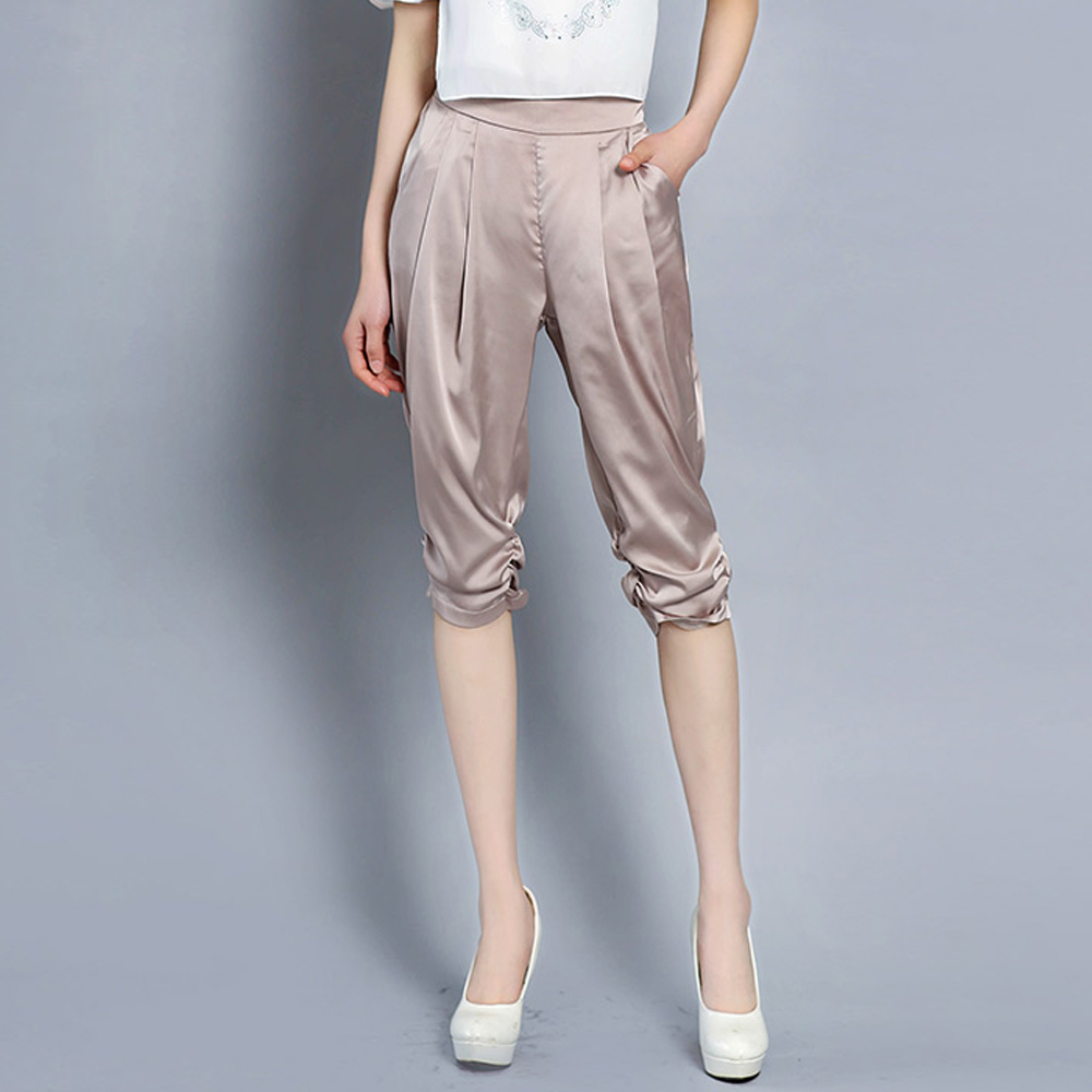 2019 new women high-grade elastic satin harem   pants   cropped trousers casual large size imitation silk female   pants   summer   capris