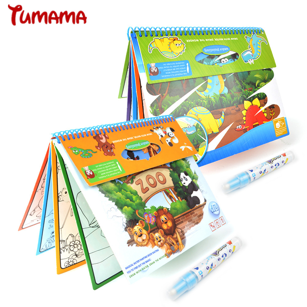 Magic Water Drawing Book Zoo Animal Dinosaurs Coloring Book Doodle Magic Pen Painting Drawing Board For Kids Educational Toys minions the doodle book