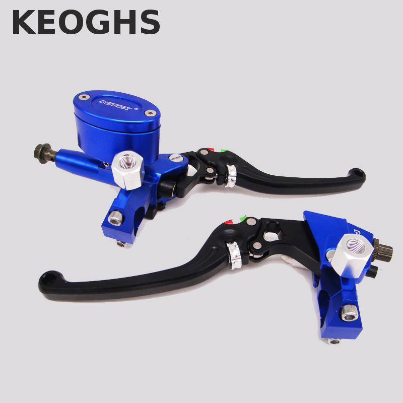 Keoghs Motorcycle Hydraulic Brake Master Cylinder And Brake Clutch Lever 22mm Universal 12.7mm Piston For Honda Yamaha Scooter left 1 25mm universal motorcycle brake clutch master cylinder hydraulic pump lever for suzuki yamaha kawasaki honda