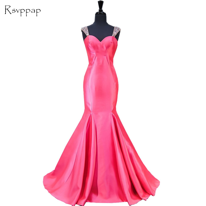 Long   Evening     Dress   2019 Mermaid Sweetheart Beaded Crystals Floor Length Backless Hot Pink Women Formal   Evening   Gowns   Dresses