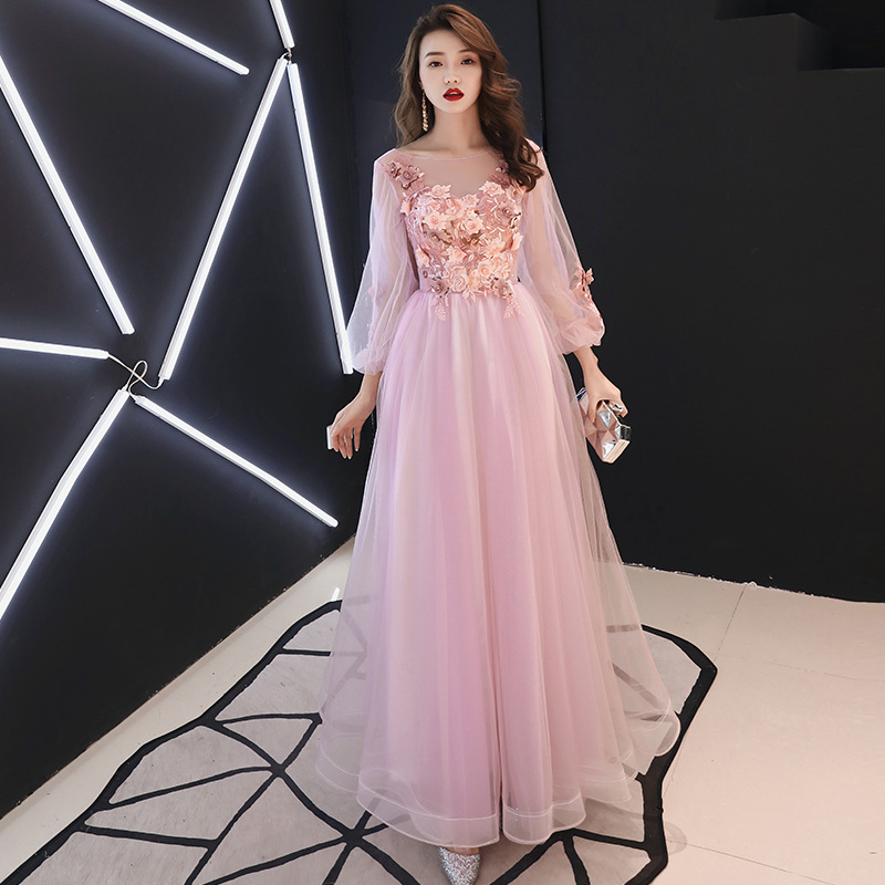 O-neck   Evening     Dress   Pink Appliques Beading Flowers A-line Formal Prom   Dresses   Blue Gray Lantern Sleeve Long Party Gowns E064