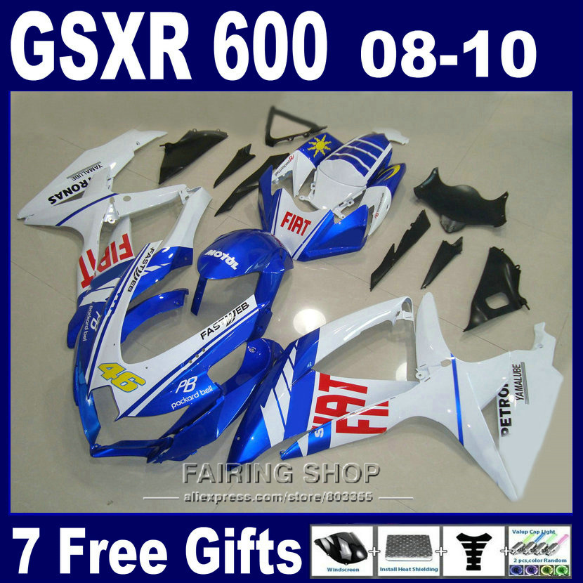 Free customize fairing kit for suzuki injection gsxr 600 750 08 09 10 white blue black fairings gsxr750 2008 2009 2010 nm147 lowest price injection fairing kit for suzuki k8 gsxr 600 700 2008 2010 gsxr600 gsxr750 08 09 10 golden black fairings jl52