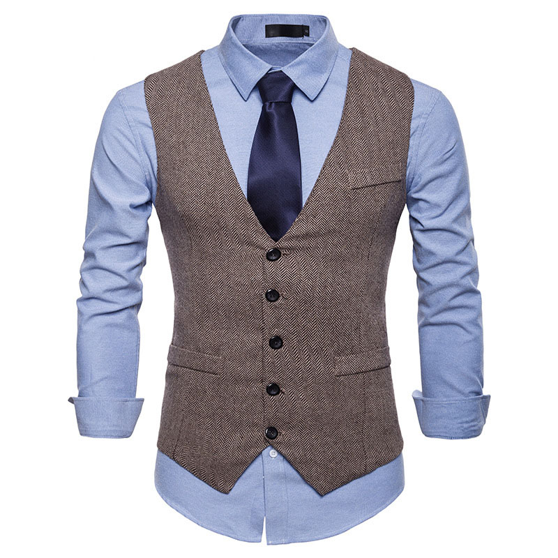Fashion Kahki Tweed Suit Vest Men 2019 Brand New Herringbone Tweed Vest Waistcoat Men Business Casual Social Vest Chaleco Hombre