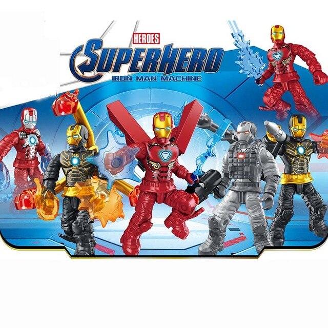 6 pcs gigante milagre de super-heróis homem de ferro seis lutador building block figura de ação brinquedo do menino tijolo
