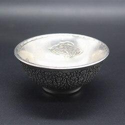 W chinach folk stary tybet srebrny rzeźbione grawerowanie wzór srebrna miska w Posągi i rzeźby od Dom i ogród na