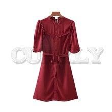 цена на CUERLY women solid ruffled mini dress half sleeve sashes A line pleated bow tie female casual stylish red dress