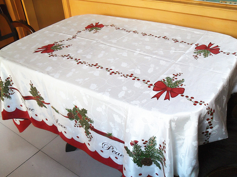 Xmas Table Linen Part - 17: Homewear Table Linens Peace Joy Christmas Embroidery Table Runner Super  Long Satin Tablecloth Xmas Table Flag Towel Cloth Covers-in Table Runners  From Home ...