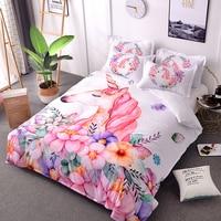 luxury Unicorn Bedding Set Cotton 3D Duvet Cover Set Pink Black White Flower Bed Linen Adult Kids Bedding Sets Cartoon Bed Cover