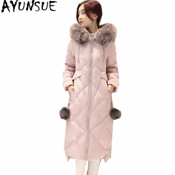 AYUNSUE Womens Down Jackets White Duck Women's Coat Fur Collar Hooded Winter Jacket Padded Women Long Parka Abrigo Mujer WXF406