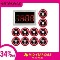 RETEKESS 999 Channel RF Wireless Waiter Calling System For Restaurant Service Pager System 1 Receiver Host + 10 Call Button