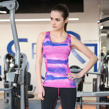 Women Quick dry sports vest ladies print outdoor fitness running Yoga tight shirt