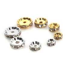 50pcs/lot Dia 6/8/10/12mm Gold/Silver Plated Rhinestone Rondelles Crystal Beads Loose Spacer for DIY Jewelry Making F1477