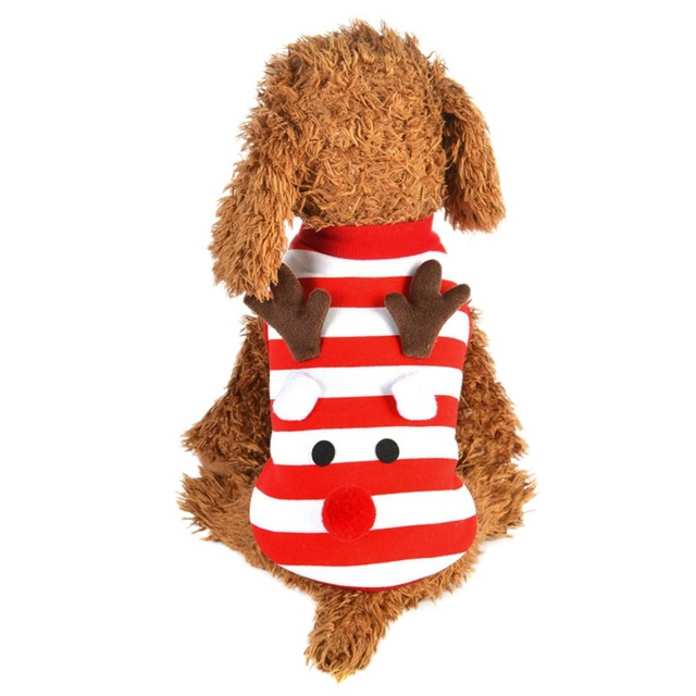 b8c3dff61687 Christmas Dog Clothes Plush Antlers Xmas Hoodies Vest Sweater Clothes For Small  Dogs Elf Striped Pet Coats