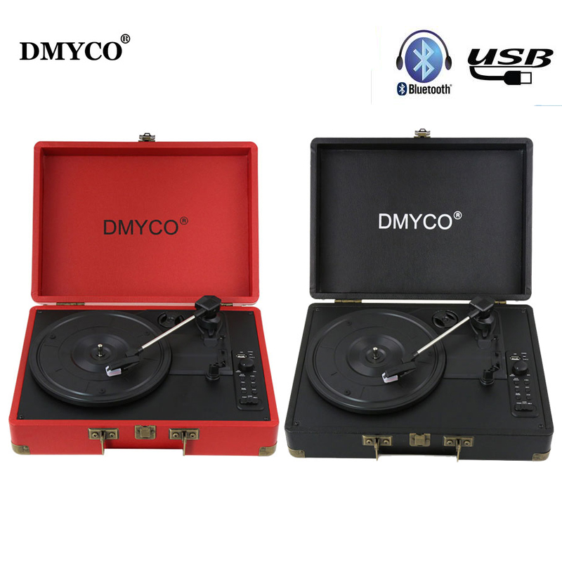 DMYCO Bluetooth Portable Audio Mini Stereo 3-Speed Turntable Vinyl Record Player Support USB/Aux-in RCA Audio Output