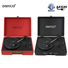 DMYCO Audio Portátil Bluetooth Mini Estéreo de $ Number Velocidades Giradiscos de Vinilo Tocadiscos USB de la Ayuda/Entrada Auxiliar RCA de Salida de Audio