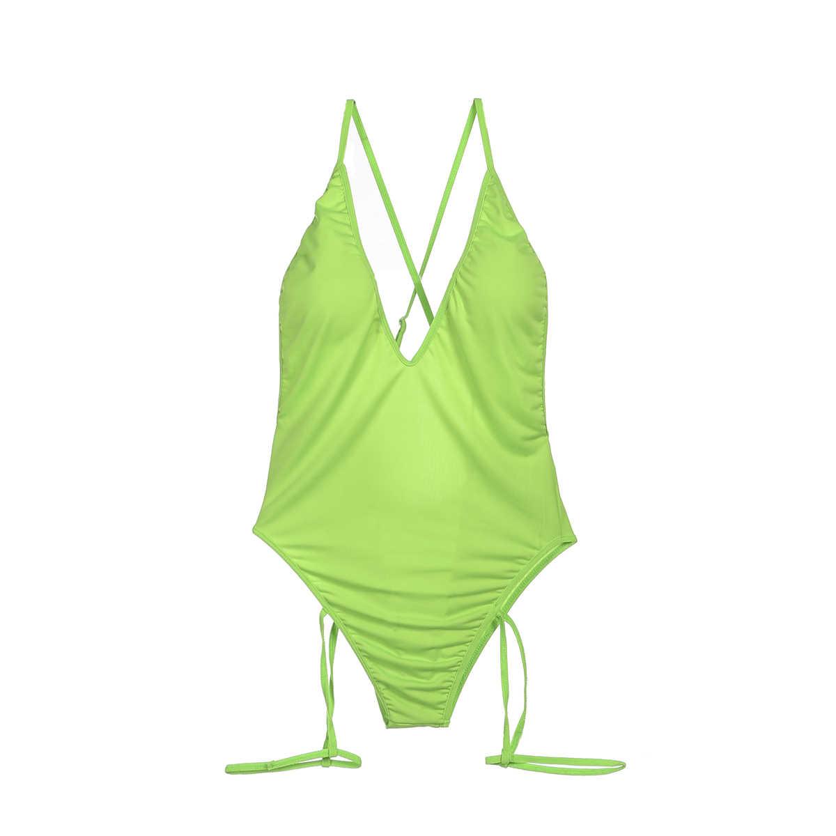Verano sexy de una sola pieza mujeres cuello en V traje de baño vendaje Bikini push-up acolchado espalda descubierta Monokini traje de baño trajes de playa