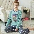 Nuevo Animal de la Historieta Pijamas Pijama Femme Primavera Otoño Invierno Ropa para el Hogar Para Las Niñas Encantadora del Algodón de los Pijamas del Camisón