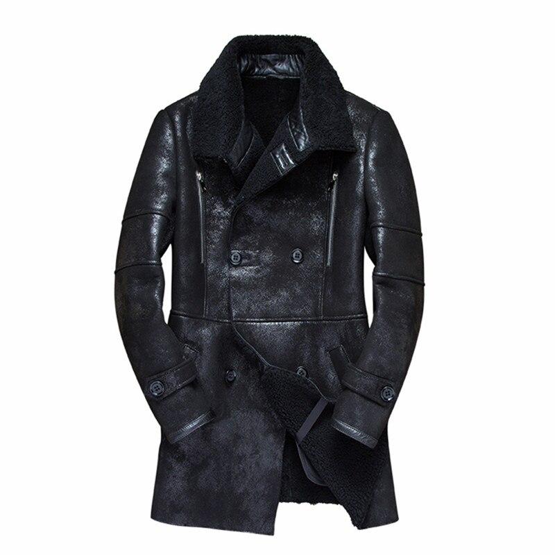 2019 Real Fur Coat Men Sheep Shearing Warm Winter Coat Men Plus Size Wool Jacket for Mens Clothing Veste Homme 7121-1 YY746(China)