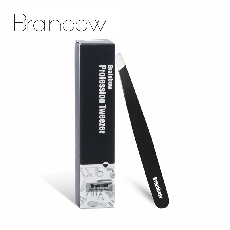 Brainbow Tight Slant Eyebrow Tweezer Anti-Static Eyelashes Extension Pinzette Eyelid Sticker Application Eyes Hair Removal Tools