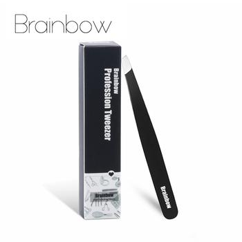 Brainbow Tight Slant pęseta brwi antystatyczne przedłużanie rzęs Pinzette powieki naklejka aplikacja oczy narzędzia do usuwania włosów tanie i dobre opinie CN (pochodzenie) Stainless Steel Brwi pęseta Length is 9 5cm(3 74in) Face Tools-BFT112 Eyes Makeup Tools Slant Eyebrow Tweezers