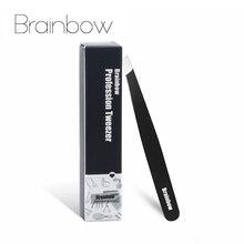 Brainbow apertado inclinação sobrancelha pinça anti estático cílios extensão pinzette pálpebra adesivo aplicação olhos ferramentas de remoção do cabelo