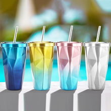 0.5 L water bottle Mugs Irregular Double Wall Stainless Steel Cups Big Travel Beach Rainbow Ice Wine Cup with Lid Straws Bottles