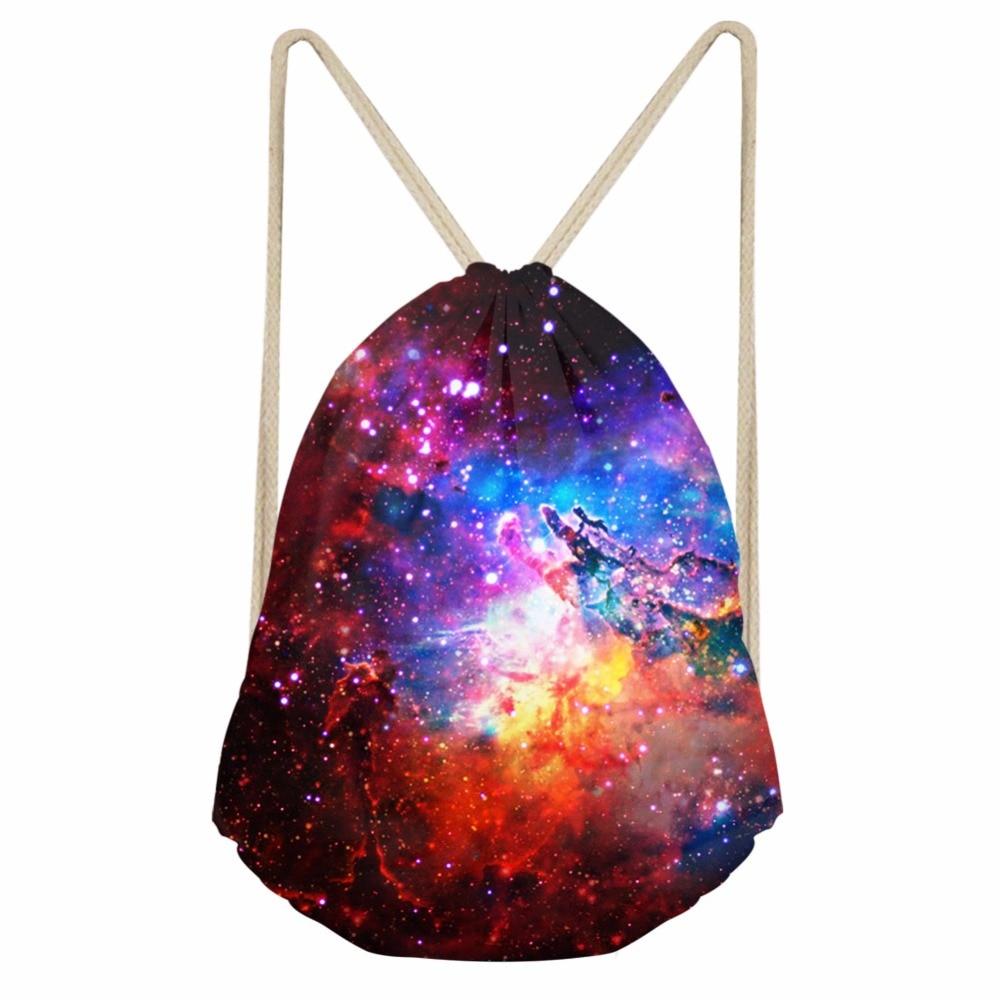 Noisydesigns Drawstring Backpack Kawaii 3D Starry Sky Mini Bags  For Kids Girls Boys Travel Women Clothing