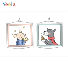 Yeele Wallpaper Photocall For Family Cartoon Pig Dog Photography Backdrop Personalized Photographic Backgrounds Photo Studio